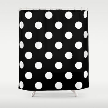 Shower Curtain - Black and White Polka Dot - Housewarming Gift - Glamour Decor - Bathroom Shower Curtain - Chevron