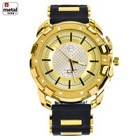 Jewelry Kay style Men's Hip Hop Iced Out Gold Plated Silicone Band Techno Pave Watches WR 8344 GBK
