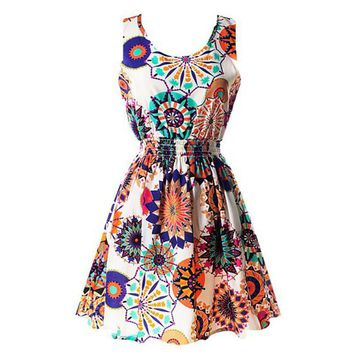 2017 Hot 20 color Women Dresses 2017 Summer Vintage Floral Print Dress Women O-neck Sleeveless Party Clubwear Formal Dress