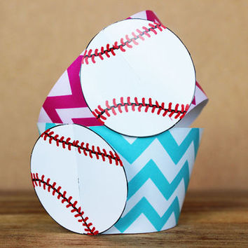 Printable 3D Baseball Sports Party Cupcake Wrapper Set in aqua blue and bright pink chevron patterns INSTANT DOWNLOAD