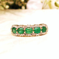 Vintage Emerald & Diamond Wedding Band 14K Gold Stacking Emerald Ring Five Stone Anniversary Ring May Birthstone Ring Bridal Jewelry Size 6!