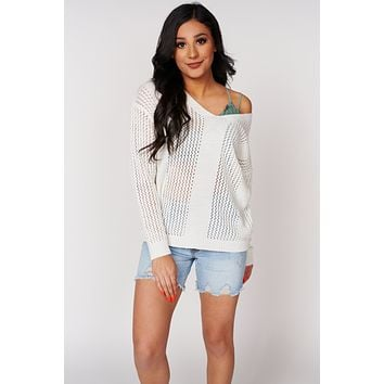 Stay Home Open Knit Sweater(Ivory)