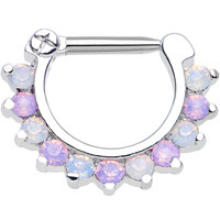 "14 Gauge 5/16"" Alluring Faux Opal and Light Purple Gem Septum Clicker 