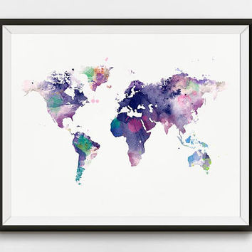 World Map, Watercolor Print, Poster, Home Decor, Map Art, Explore, Global, Map Poster, land, Large World Map, Painting, Printable, Download