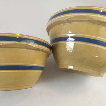 2 Yellow Ware Mixing Bowls, 1930's Blue & White Banded Stripes, Vintage Large Primitive Yellowware Nesting Bowls, Farmhouse Kitchen Decor