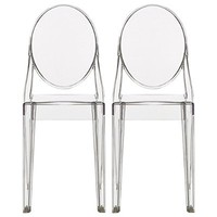 2xhome - Set of Two (2) - Clear - Victoria Style Ghost Side Chairs - High Quality Dining Room Chairs - Victorian Accent Seat - Lounge No Arm Arms Armless Less Chairs Seats Higher Fine Modern Designer Artistic Classic Molded Contemporary Crystal Clear Trans