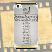 iPhone Case/Lords Prayer in the Cross/Phone Cover/22 colors to choose/High Quality Image/Watercolor Set