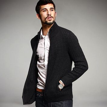 Autumn Men's Sweaters Male Winter Cardigan Man's Black Knitwear Slim Fit Zipper Brand Clothing Sweater Coats