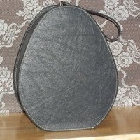 Vintage Luggage Tear Drop Train Case Late 1950's Gray