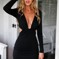 Cut Out Waist Knot Front Bodycon Dress