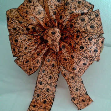 Spooky Spider Halloween Bow, Halloween Wreath Bow, Halloween Decorations, Orange Spider Wired Ribbon Bow, Door Bow, Corn Stalk Bows