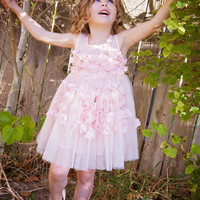 Light Pink Petal Flower Girl Dress