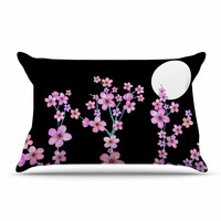 "Julia Grifol ""Cherry Blossom At Night"" Pink Black Pillow Case"