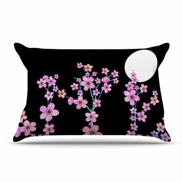 "Julia Grifol ""Cherry Blossom At Night"" Pink Black Pillow Sham"