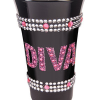 Diva Shot Glass W-pink Stones - Black