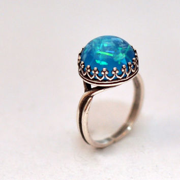 Aqua Blue Antique Silver Crown Ring, Adjustable Cocktail Resin Ring