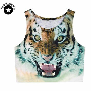 2018 Summer Women Sexy Crop Tops Loose 3D Printed lion Cropped  Cute Girl Tank Top Elastic Camisole Lady female Youth Vest