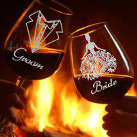 Bride and Groom  Hand Etched Wine Glasses