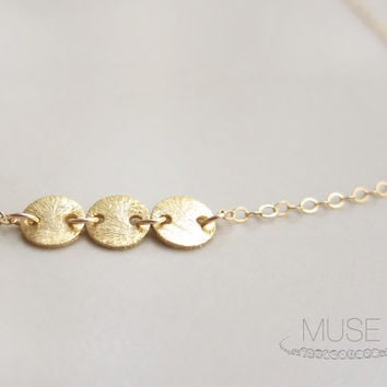 Three Discs Necklace - Vermeil Discs Necklace, Gold Filled Necklace, Dainty Gold Necklace, Delicate Jewelry, Simple Everyday