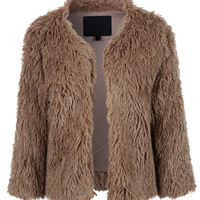 LE3NO Womens Cropped Long Sleeve Open Front Faux Fur Coat Jacket