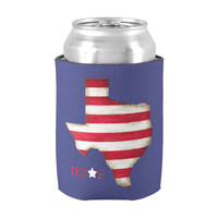 Texas Can Coozie- can cozy- can cooler- can koozie- can cover- Texas state- striped coozie- red white and blue- beer coozie- guys gift