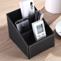 Eco-Friendly 3 Cells Leather Storage Box Desk Decor Stationery Makeup Cosmetic and Remote control storage box Organizer SGG#