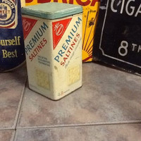 Vintage Nabisco Premium Saltine Crackers Kitchen Tin Canister Can Box 14oz.