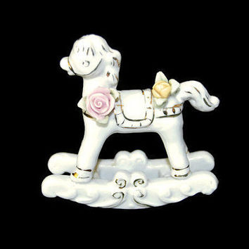 Vintage Porcelain Rocking Horse Figurine Pink Flower Rose Porcelain White Toy Horse Gift Handpainted Ceramic Rocking Horse Nursery Decor