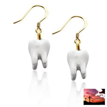 Tooth Charm Earrings in Gold
