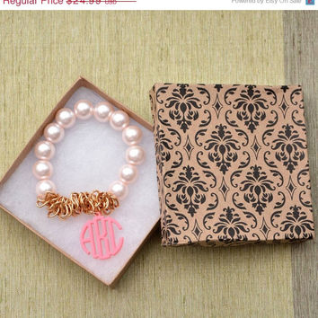 Wedding Gift - Pink Monogram Stretch Bracelet with Bangle