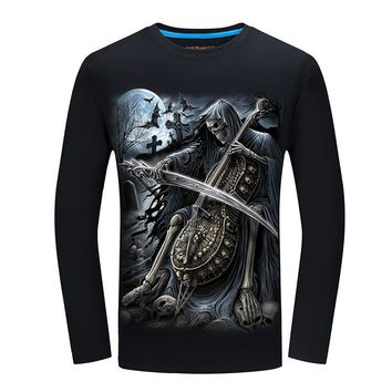 3D T-shirt Print Fashion Long Sleeve Tee Tops Graphic S-6XL  O-Neck New Arrival Guitar Skull