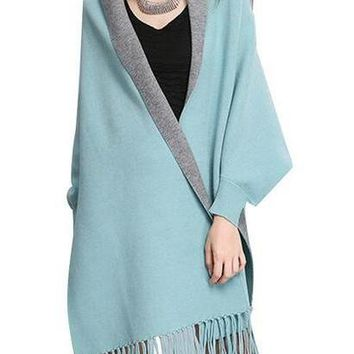 Womens Loose Knit Cardigan Oversized Elegant Fringed Shawl Cloak Sweaters Shawls Coat Bat Sleeve Winter New Knitwear Jumpers