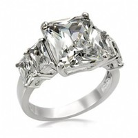 Ansela's Emerald Shape Five Stone Anniversary Ring-Stainless Steel
