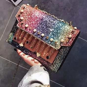 Coach Fashion Women Tassel Shining Sequin Rainbow Shoulder Bag W f1e1b3a897f9