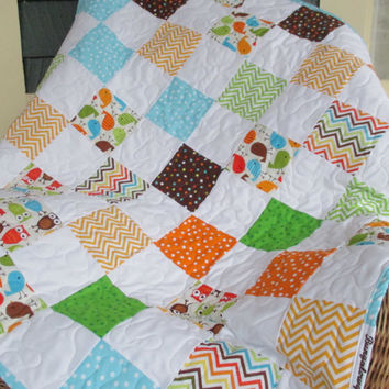 Baby Boy Quilt , Patchwork Baby Quilt , Brown And Blue Crib Quilt