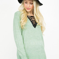 Lace Up Solid Knit Sweater Top