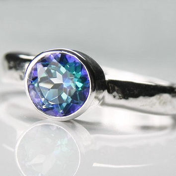 Mystic Topaz Ring - Blue Gemstone Ring - Neptune Garden Blue Mystic Topaz Artisan Ring - Aqua Blue Green Purple Gemstone Silver