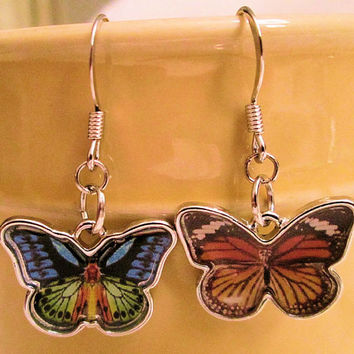 Butterfly earrings, Mismatched earrings, Monarch butterfly charms, Fish hook dangle earrings, Multicolored, insects, Science, Nature