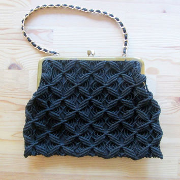 25%SALE Black crochet corde purse // 40s or 50s vintage bag