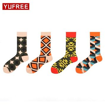 Yufree 2017 New Men Socks High Quality Cotton Geometry Male Tube Socks Hit Color Men'S Funny Happy Socks Hot Sale