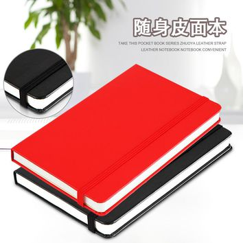 Business premium book Lackadaisical deli 3314 bandage series leather notebook PU hardcover notepad small planner pocket notebook