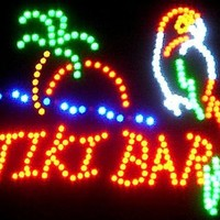 Parrot Tiki Bar Neon LED Flashing Sign with Palm Tree and Ocean 18 x 16