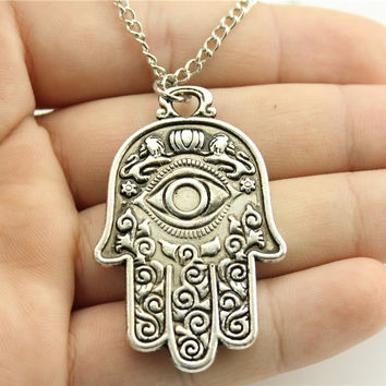 WYSIWYG antique bronze antique silver tone 48*30mm bird fish fruit Eye Hamsa Hand pendant necklace 70cm chain long necklace