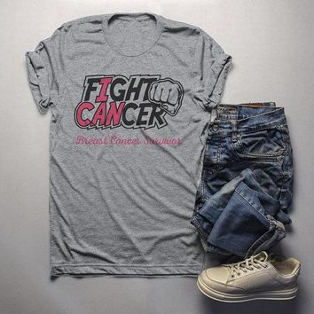 Men's Breast Cancer T Shirt Survivor Shirt I Can Fight Cancer Pink Ribbon Awareness Tee