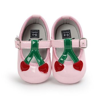 Glitter New Baby Girl Cherry Pattern Princess Soft Soled Shoes Sneakers Casual Spring