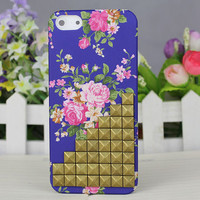 Bronze Stud Rose Blue Hard Case Cover for Apple iPhone 5 Case iPhone 5 Cover iPhone 5 Case iPhone 5g