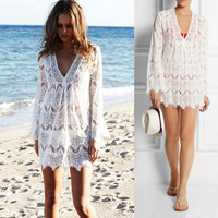 V-neck Long Sleeve Cover Up Lace Dress