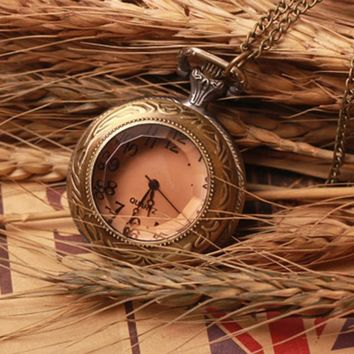 Alloy Antique Number  Pocket Watch With Chain