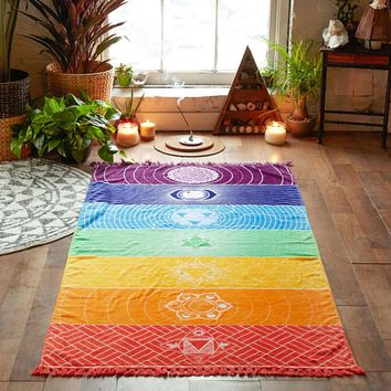 Rainbow Stripes Beach Towel Bohemia Wall Hanging Tapestry India Mandala Wall Carpet Bikini Throw Blanket Yoga Mat Playa Shawl