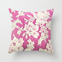 pink lace-photograph of vintage lace Throw Pillow by Sylvia Cook Photography | Society6